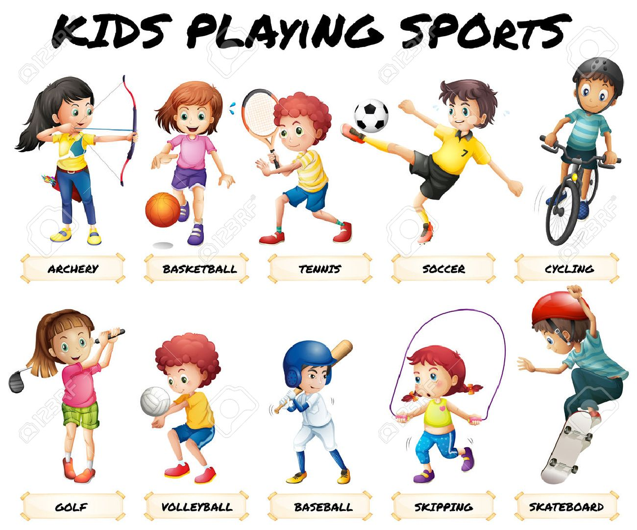 Boys and girls playing sports illustration - 50163223