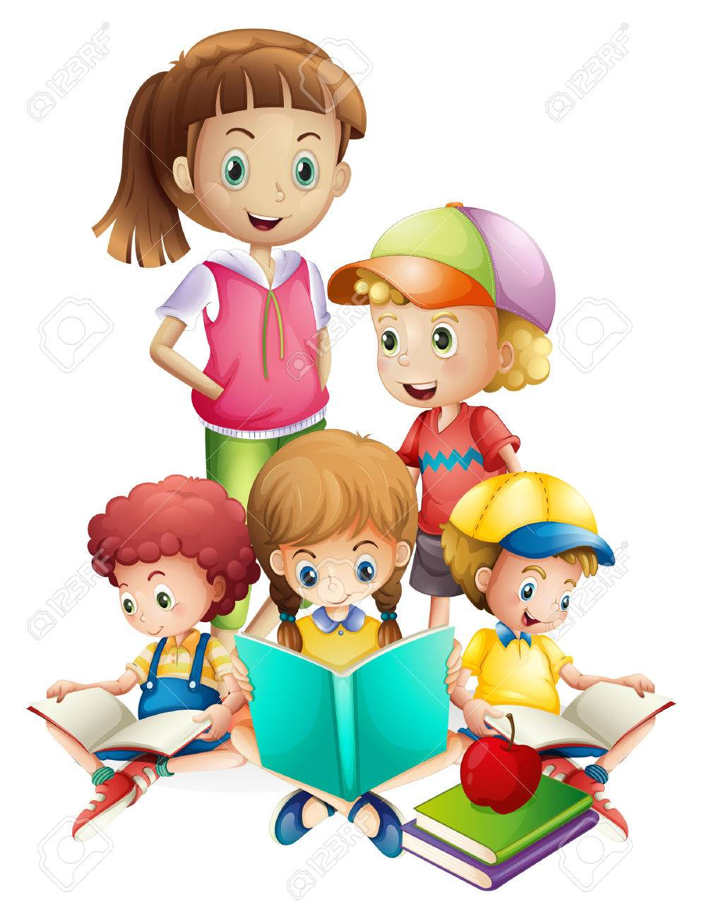 boys and girls reading book illustration royalty free cliparts