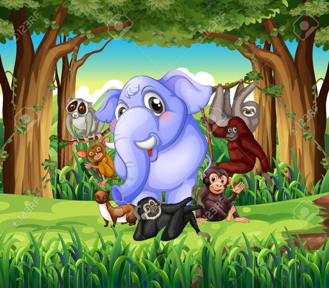 Wild animals in the jungle illustration Stock Vector - 50683958