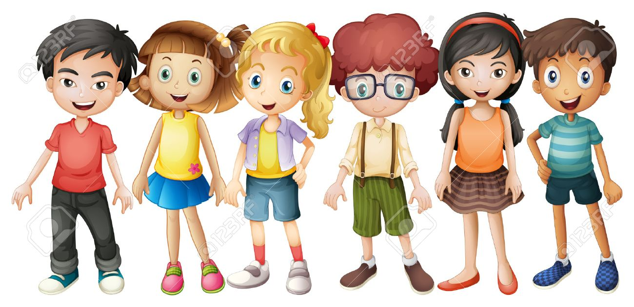 Boys and girls standing in group illustration - 50684555