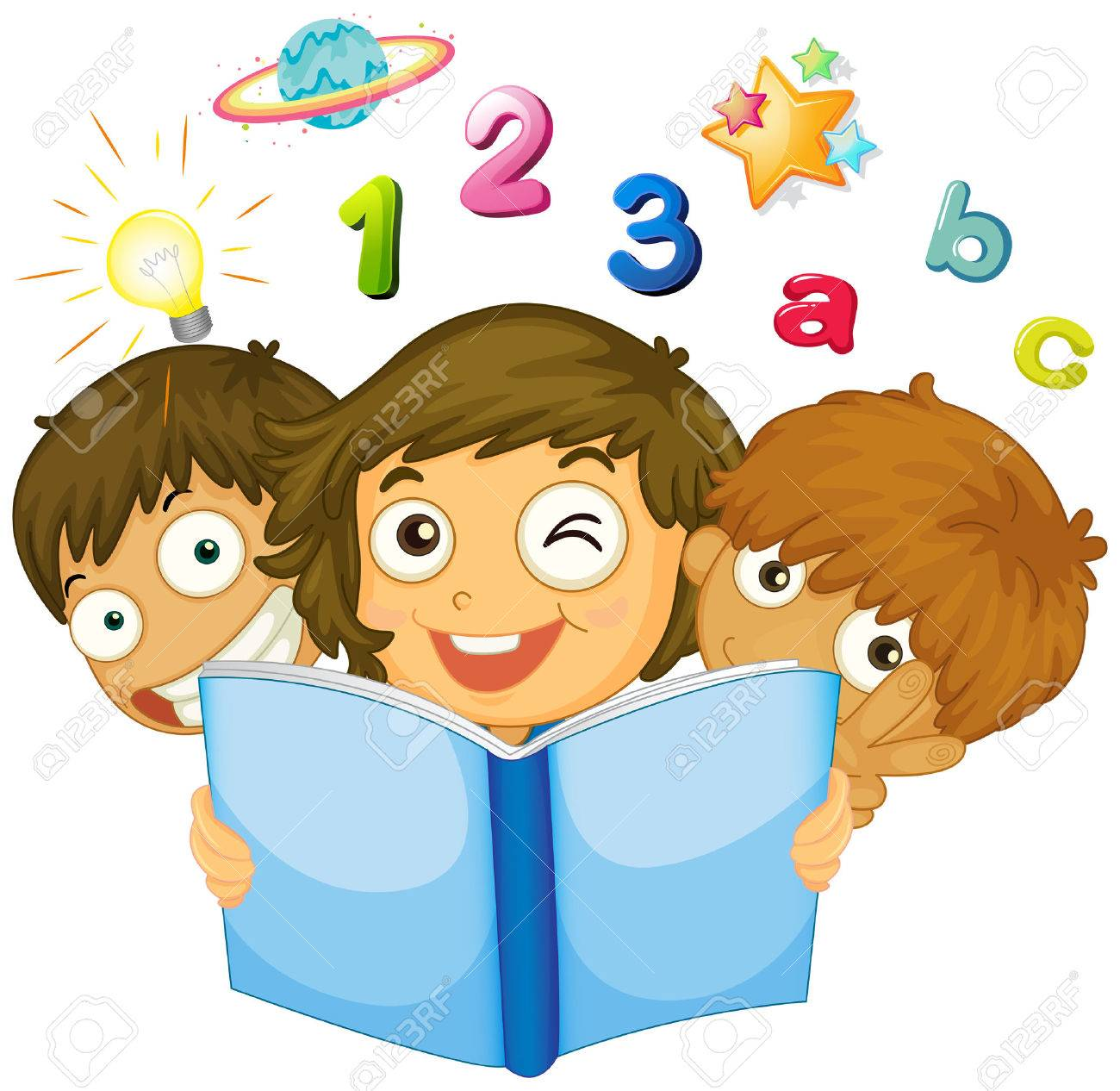 Children Reading Math Book Illustration Royalty Free Cliparts ...