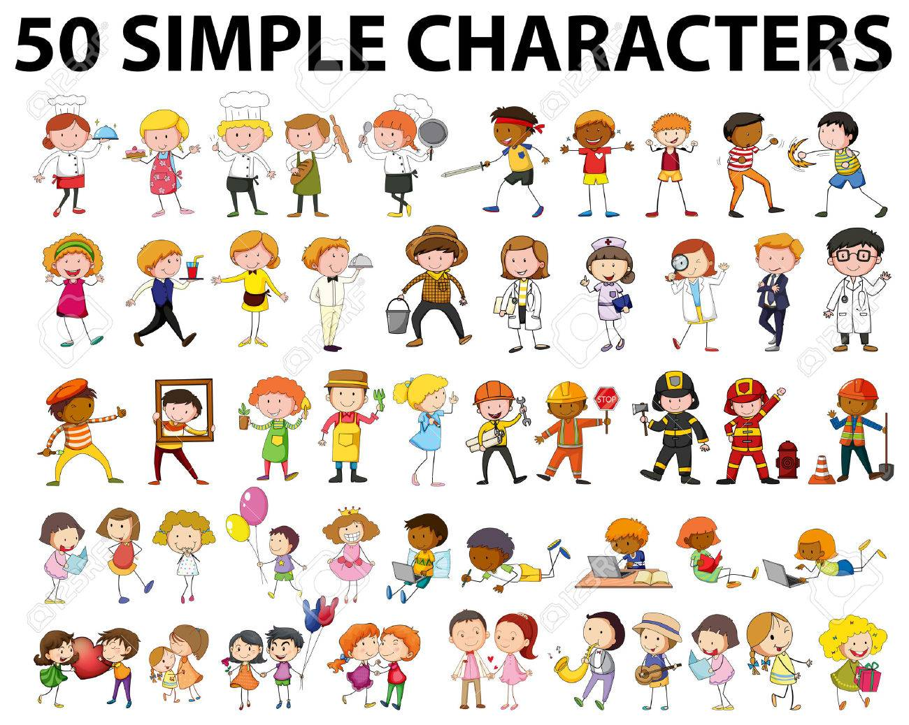 fifty different type of people illustration royalty free cliparts