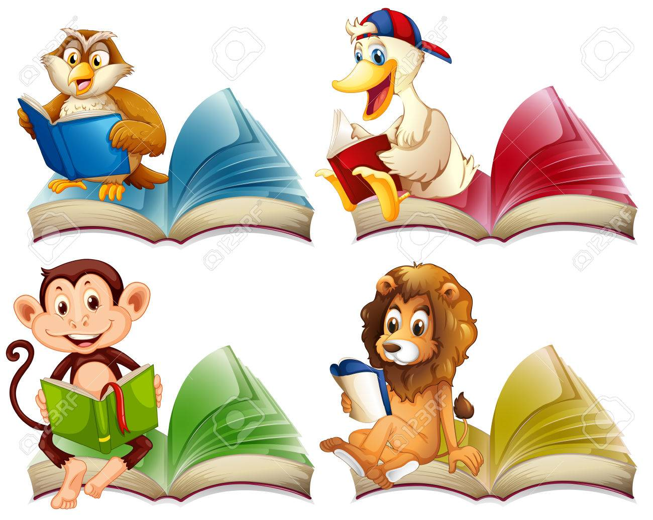 Wild Animals Reading Books Illustration Royalty Free Cliparts Vectors And Stock Illustration Image 51020337