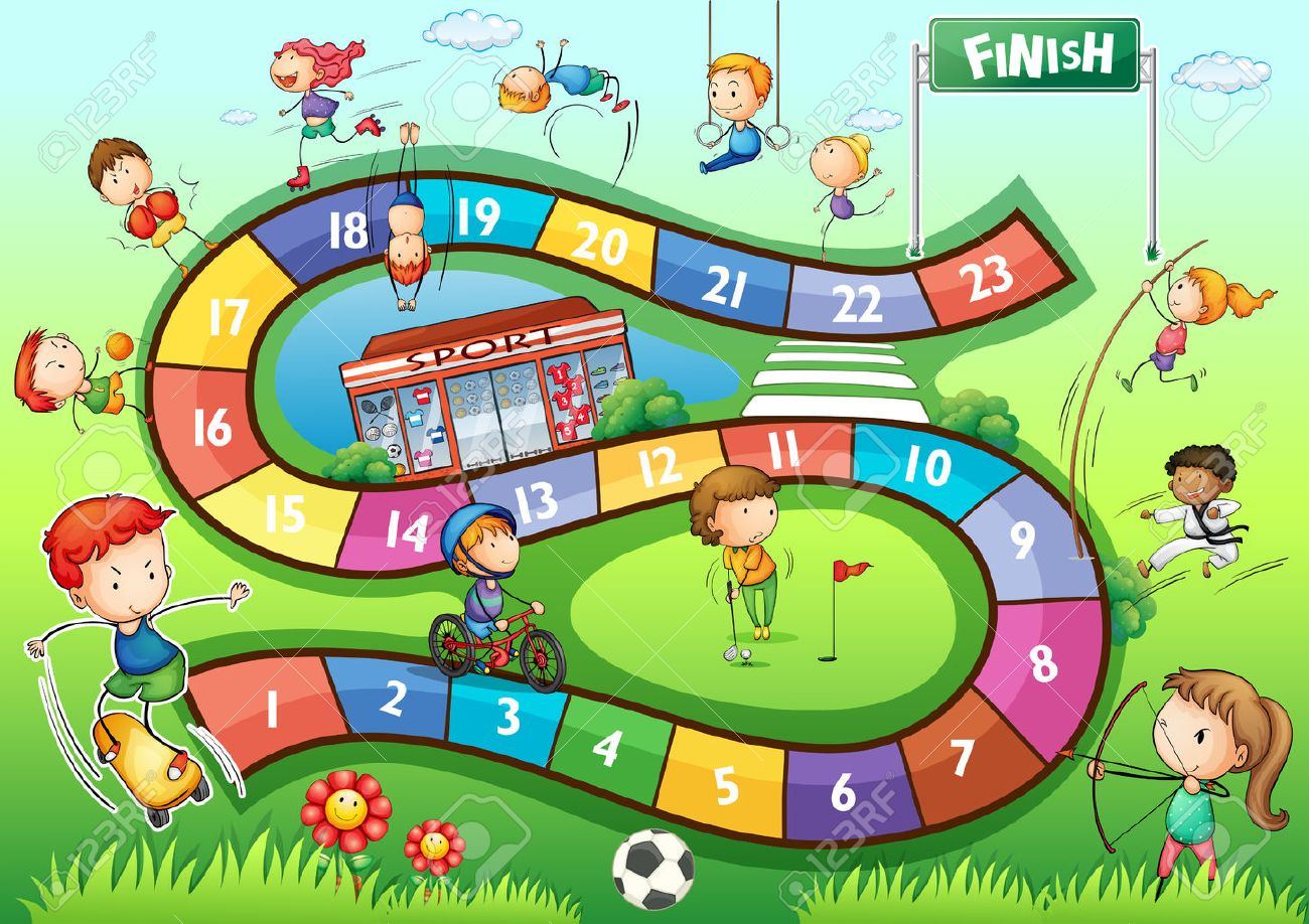 boardgame template with sport theme illustration royalty free
