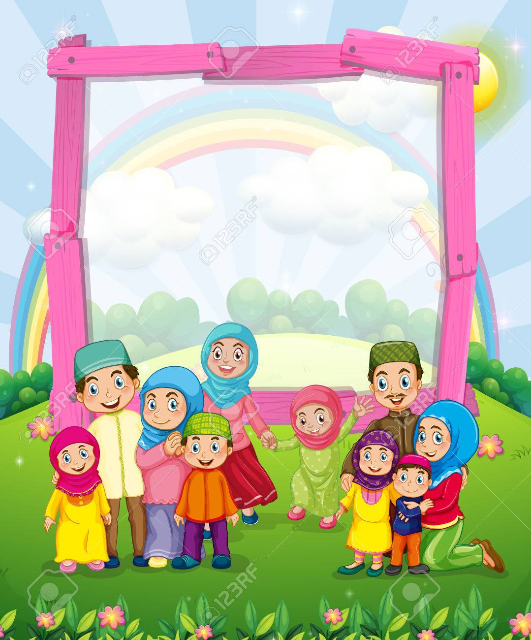 Border Design With Muslim Family Illustration Royalty Free