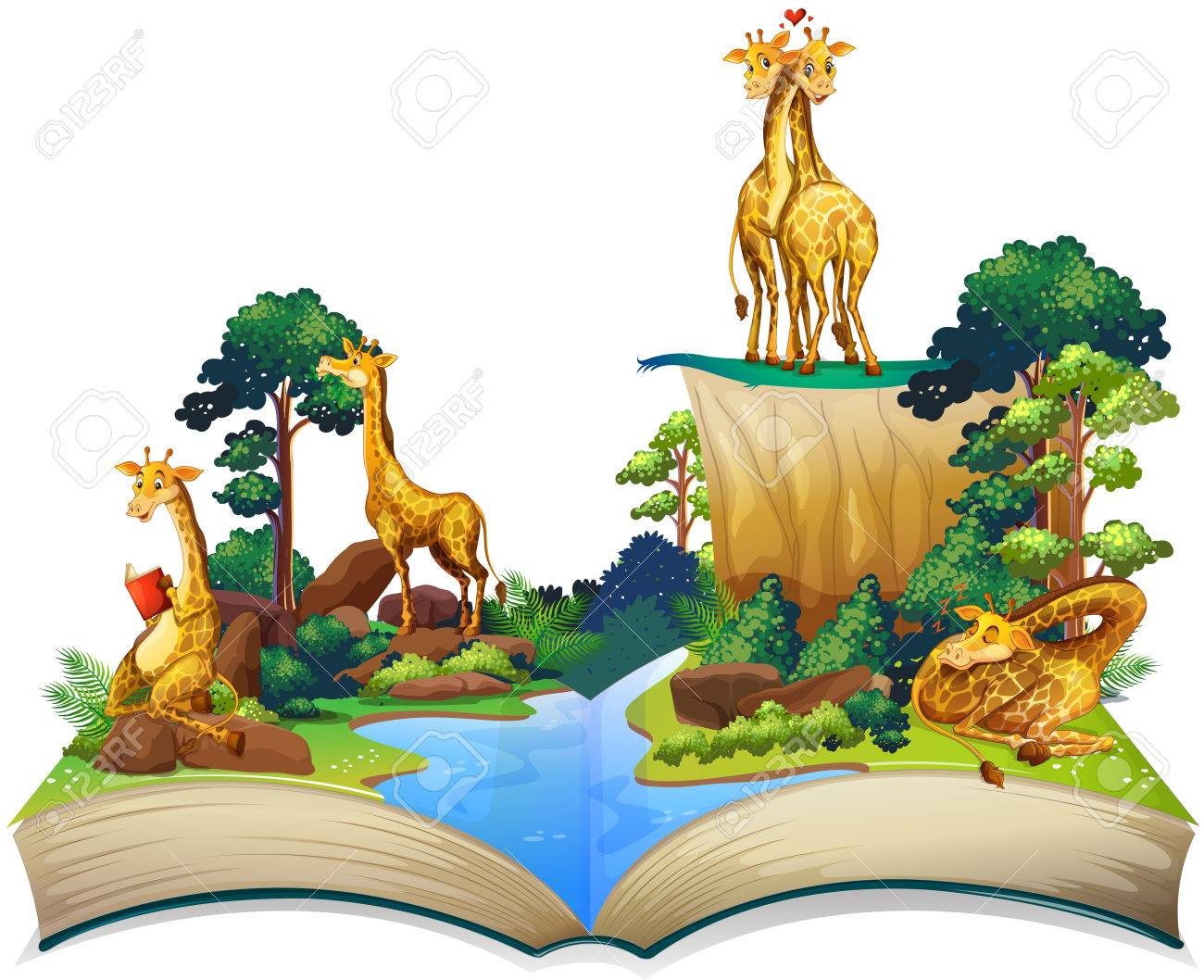 Book of giraffes living by the river illustration - 51244640