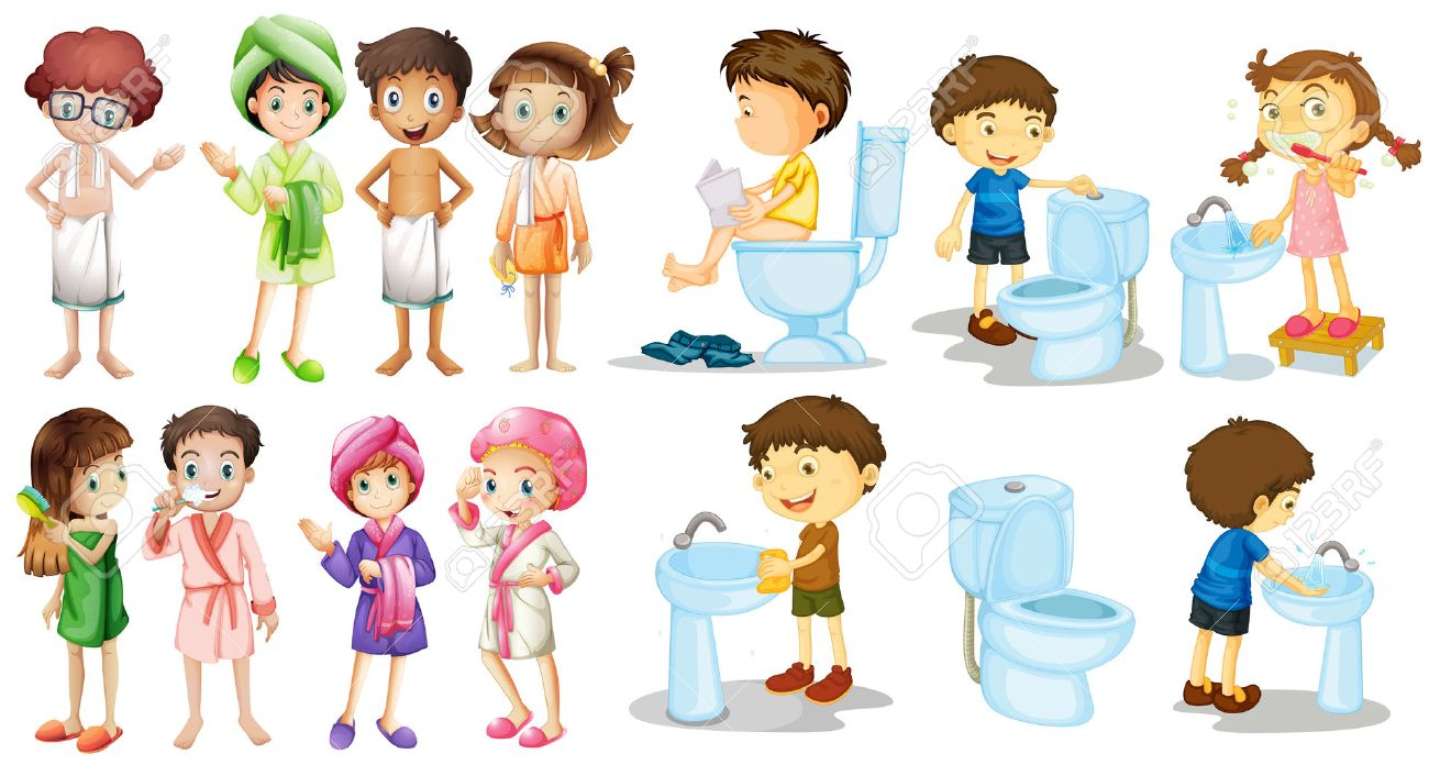 Boys And Girls In Bathrobe Illustration Stock Vector