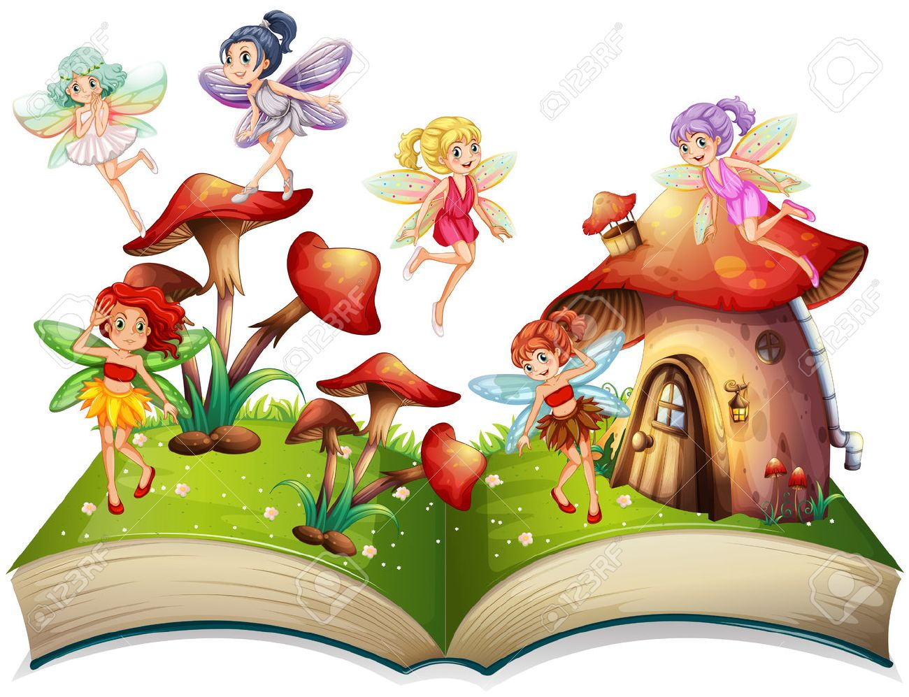 Fairies Flying Around The Mushroom House Illustration Royalty Free ...