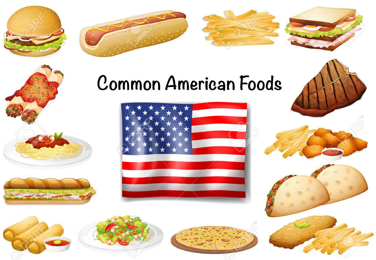 Different Common American Food Set Illustration Royalty Free
