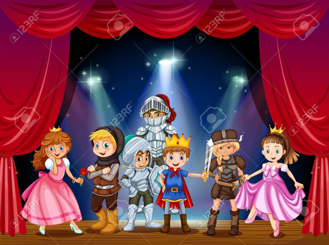 Stage play with children in costumes illustration - 51244390