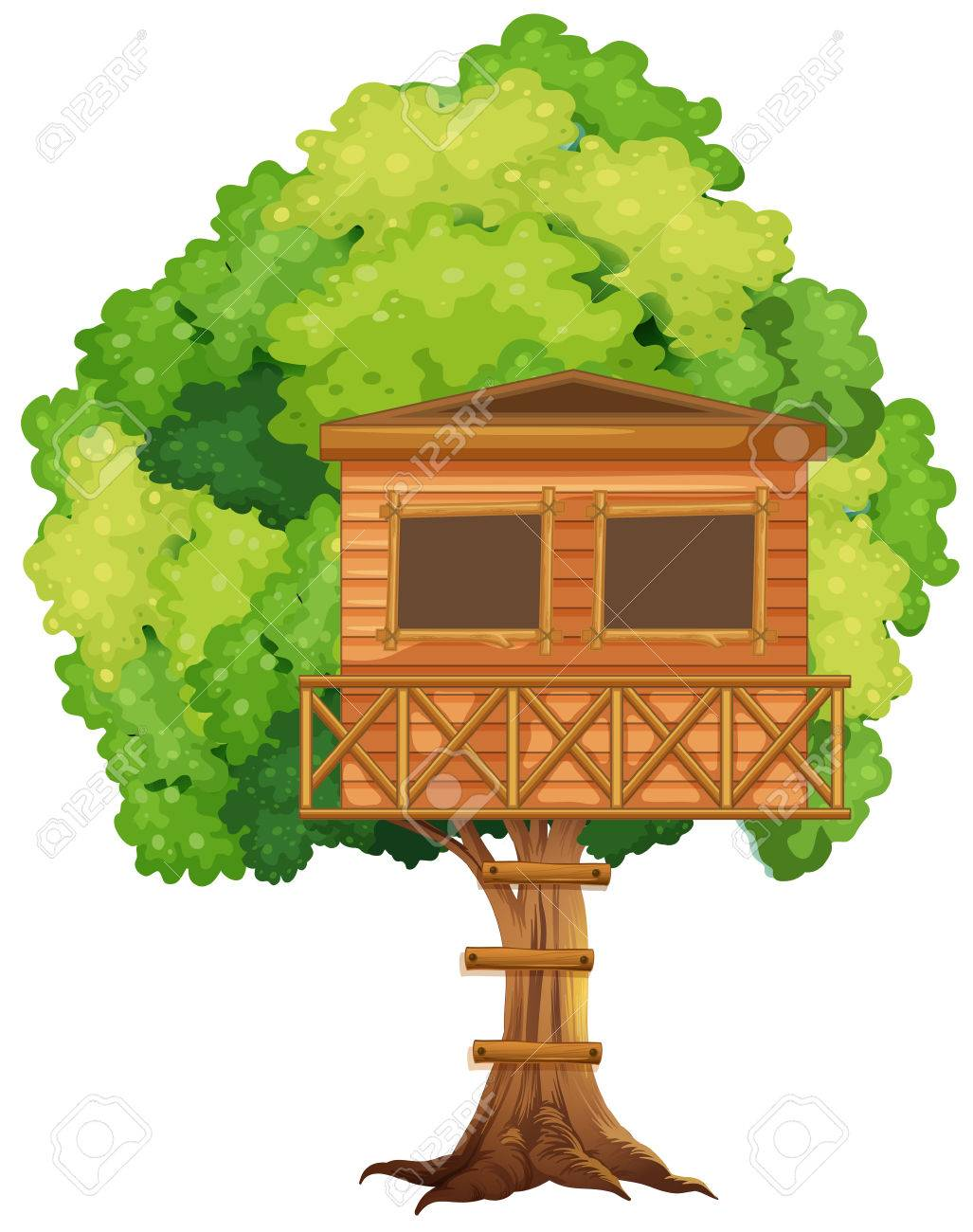 one treehouse in the tree illustration royalty free cliparts rh 123rf com Tree House Sketch magic tree house clipart