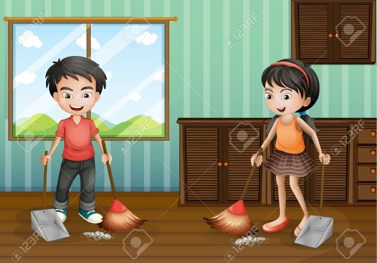 Boy and girl sweeping the floor illustration - 51244339
