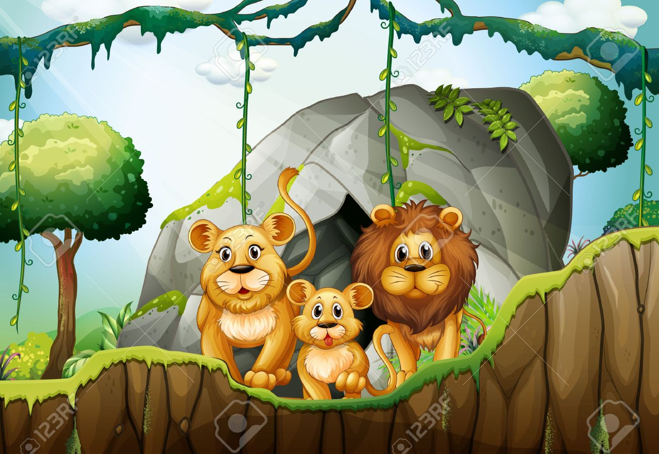 Lion family living in the jungle illustration Stock Vector - 51403352