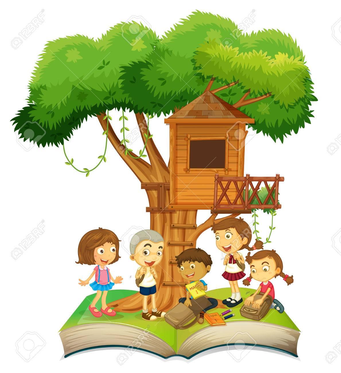 book of children and treehouse illustration royalty free cliparts rh 123rf com Diaper Clip Art Diaper Clip Art