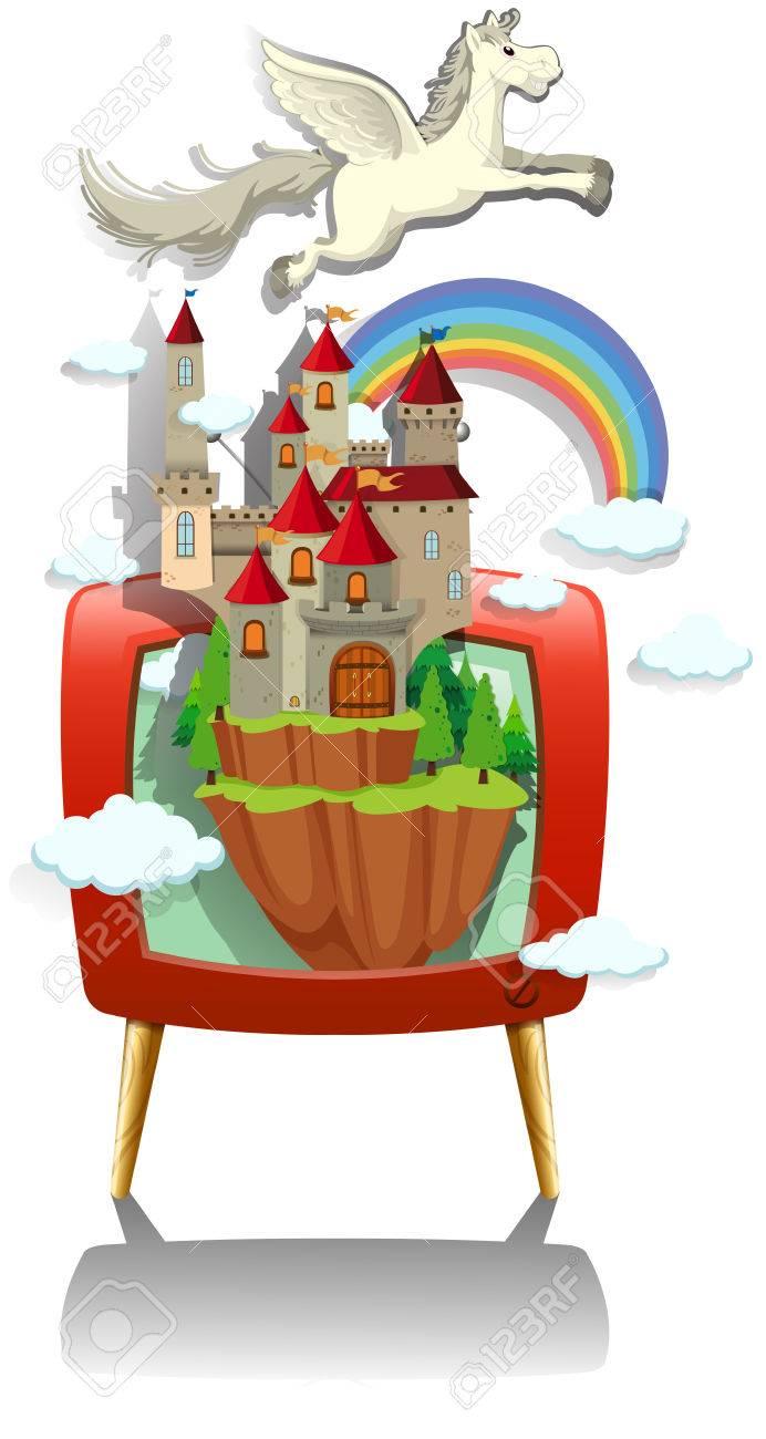 Pegasus flying over the castle on TV screen illustration