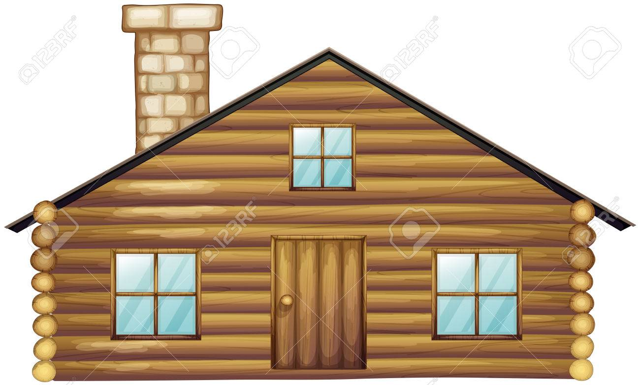 Wooden House With Chimney Illustration Stock Vector