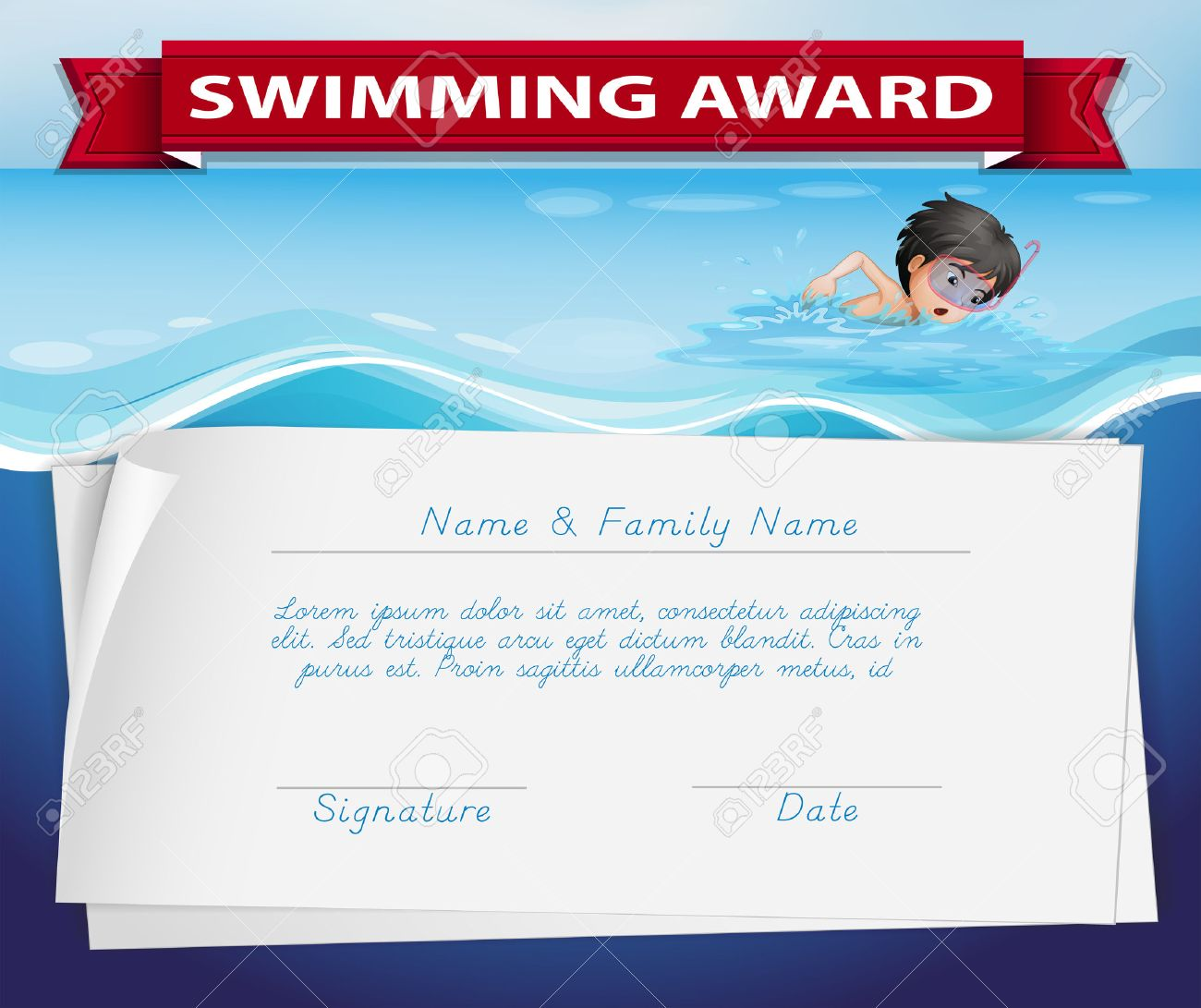 Template of certificate for swimming award illustration royalty free template of certificate for swimming award illustration stock vector 51855921 yelopaper Image collections