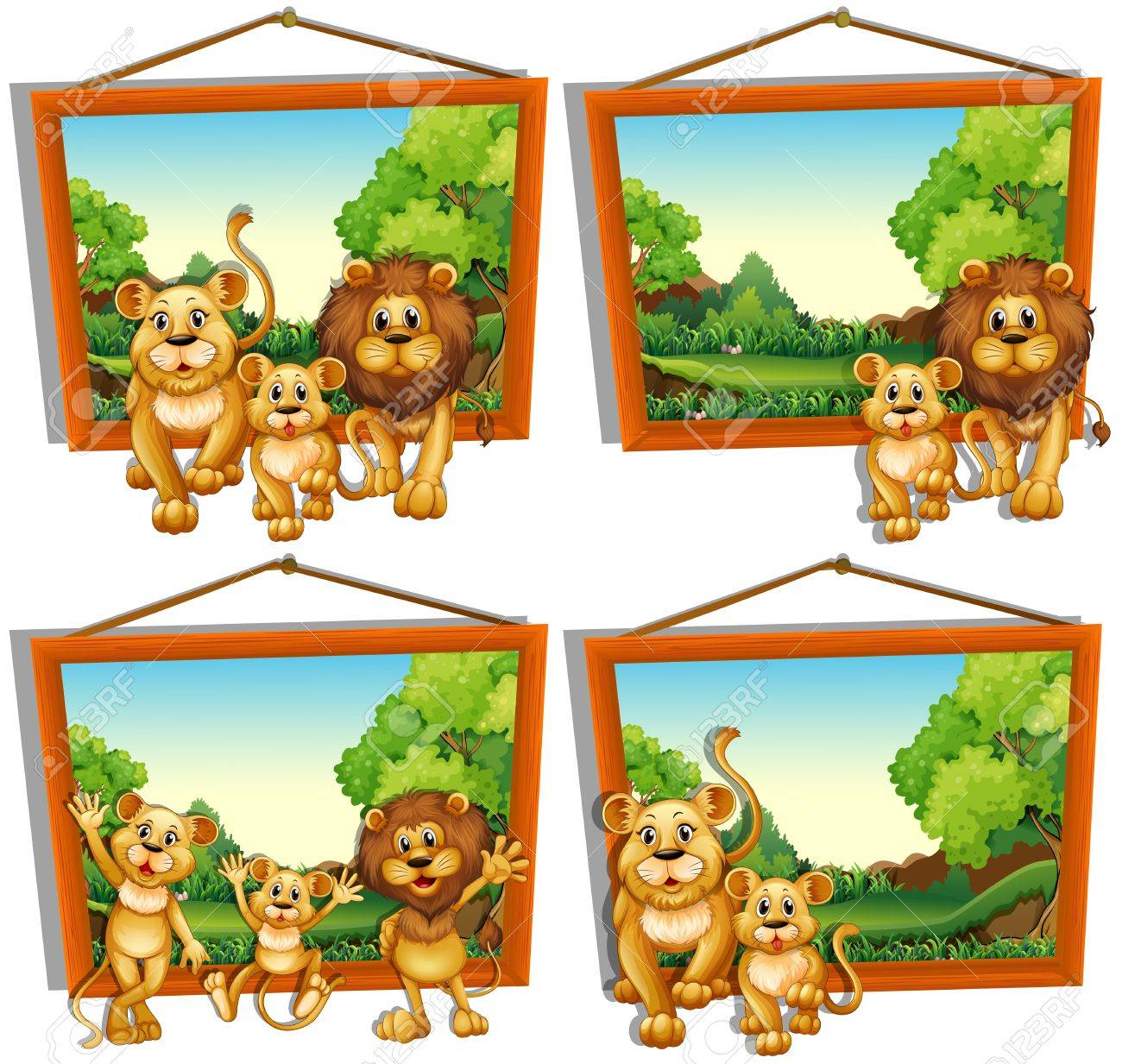 Vier Digitale Bilderrahmen Von Löwenfamilie Illustration Lizenzfrei ...