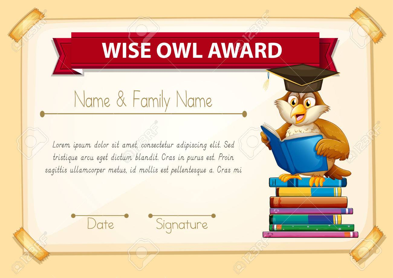 Certificate template with owl reading books illustration royalty certificate template with owl reading books illustration stock vector 51856152 yadclub Images