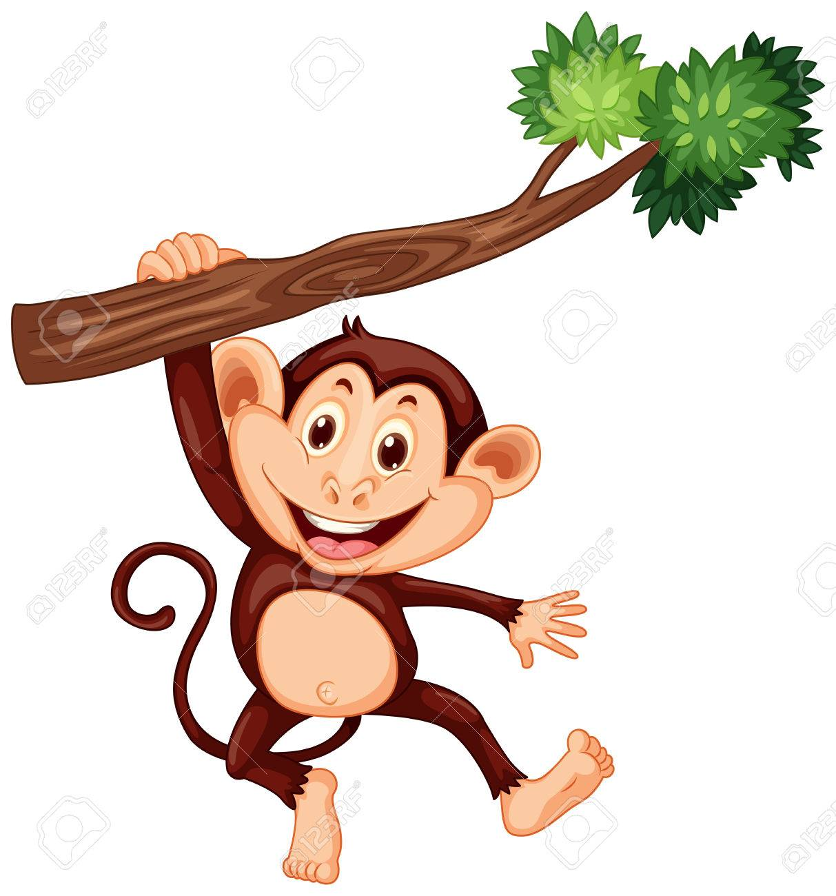 Cute monkey hanging on the branch illustration - 51862479