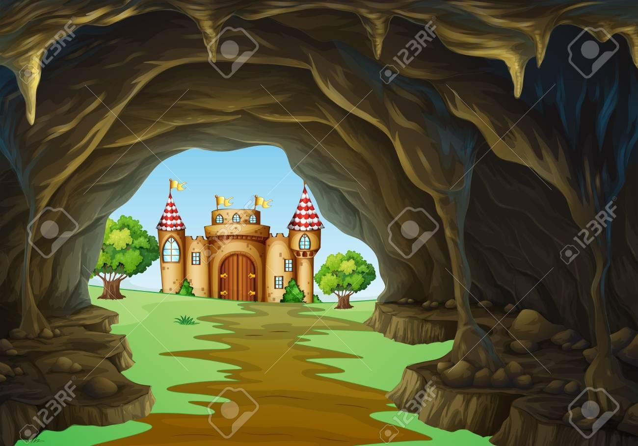 遠く離れた王国城や洞窟のイラストのイラスト素材ベクタ Image 51862763