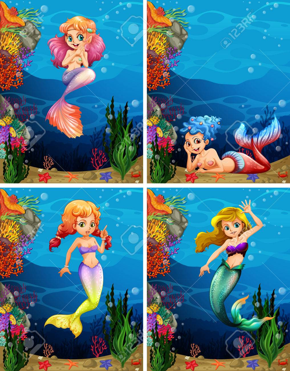 four scenes of mermaid swimming under the sea illustration royalty
