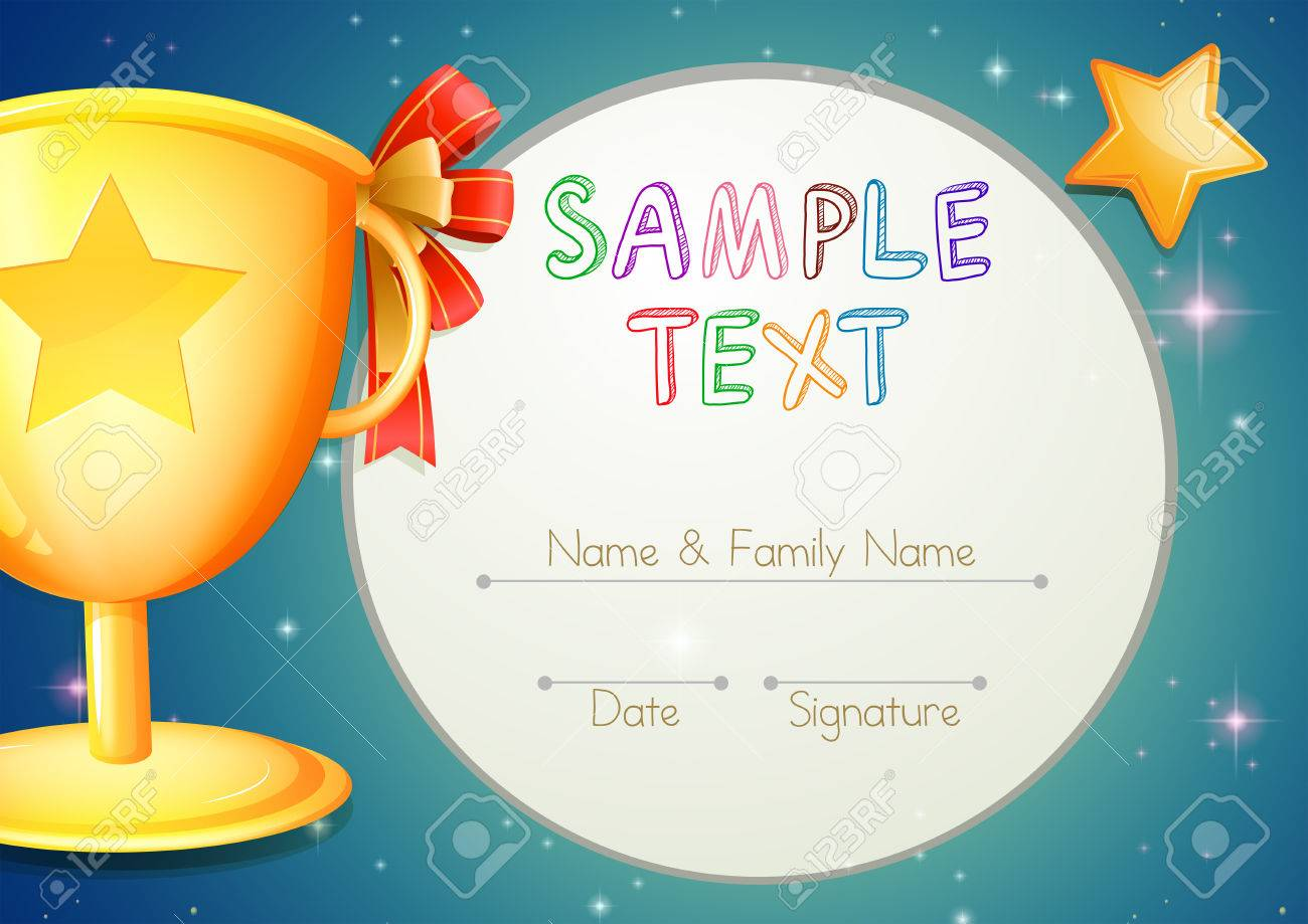 Certification Template With Stars And Trophy Illustration Royalty