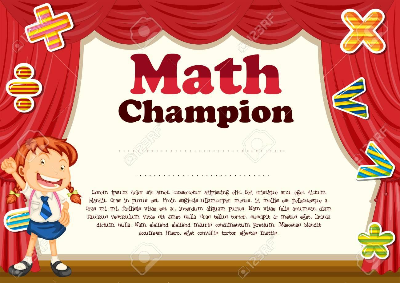 Zertifizierung mit Mädchen und Mathe Thema Illustration