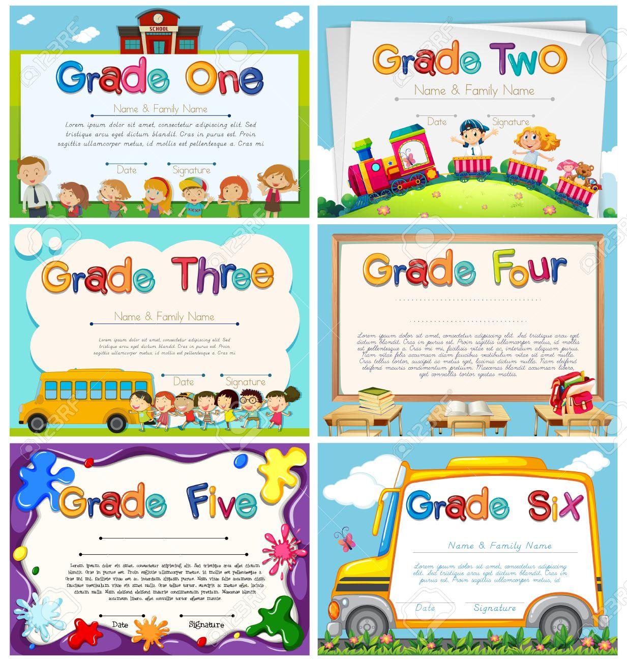 size 40 2d0c4 34b28 Banque d images - Modèles de diplôme pour l enseignement primaire  illustration scolaire