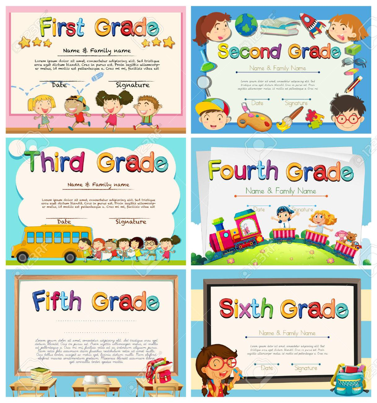 Certificates For Children In Primary School Illustration Royalty