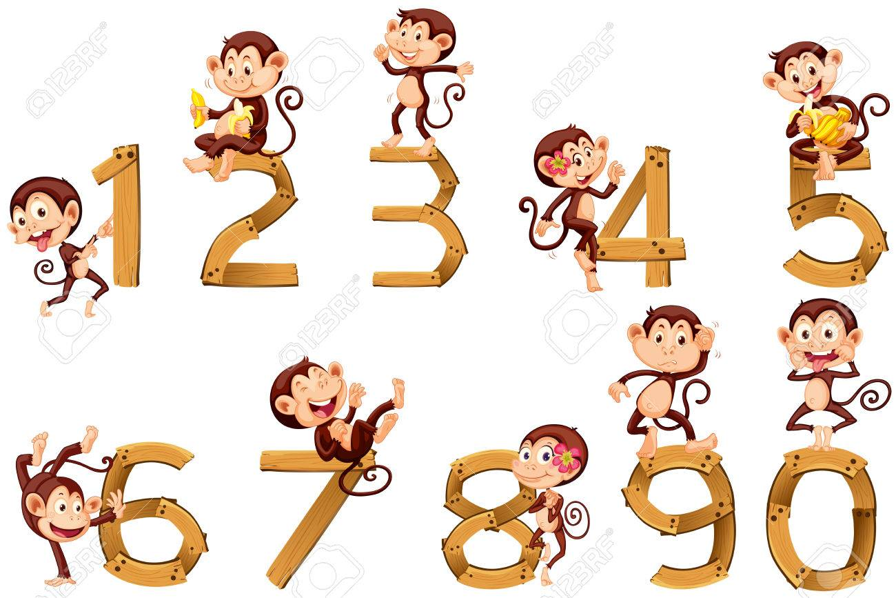 Number one to ten with monkeys illustration - 52044225