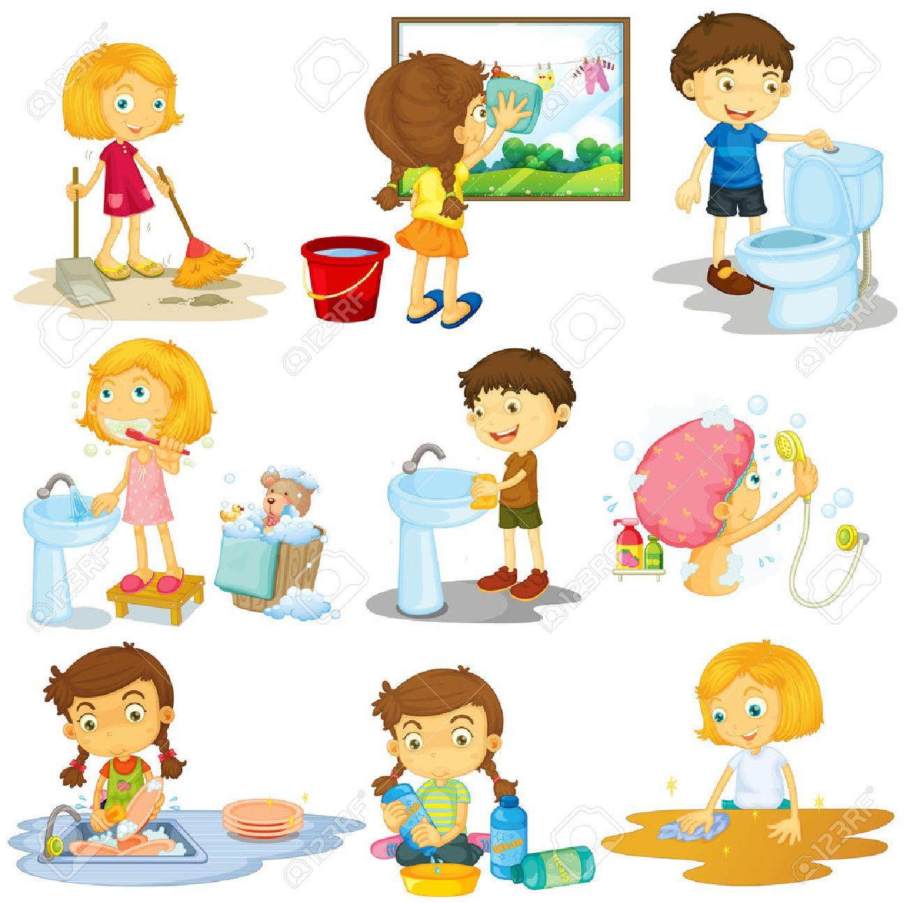 Niños Haciendo Diferentes Tareas De La Ilustración Ilustraciones ...
