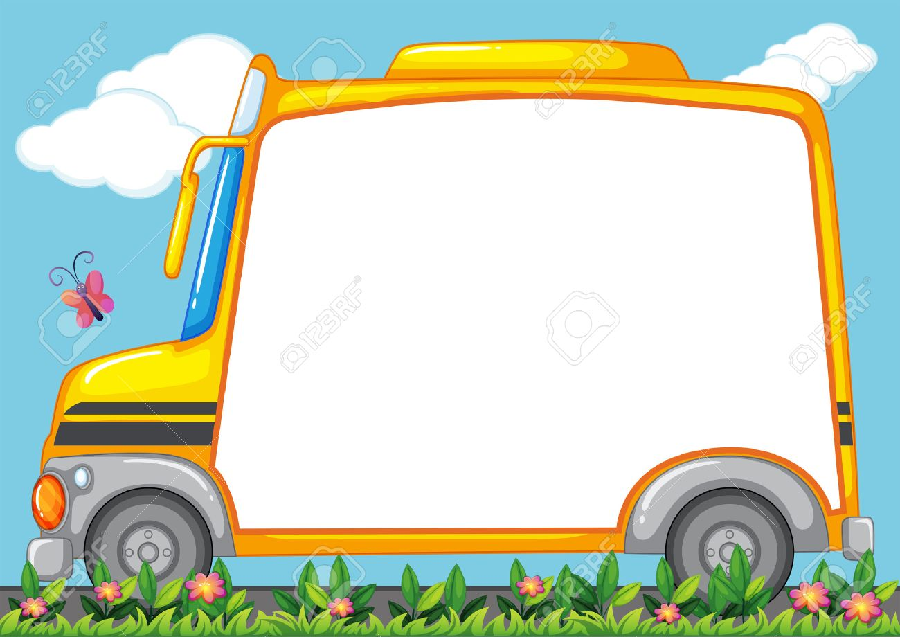 Border Design With Schoolbus In Garden Illustration Royalty Free