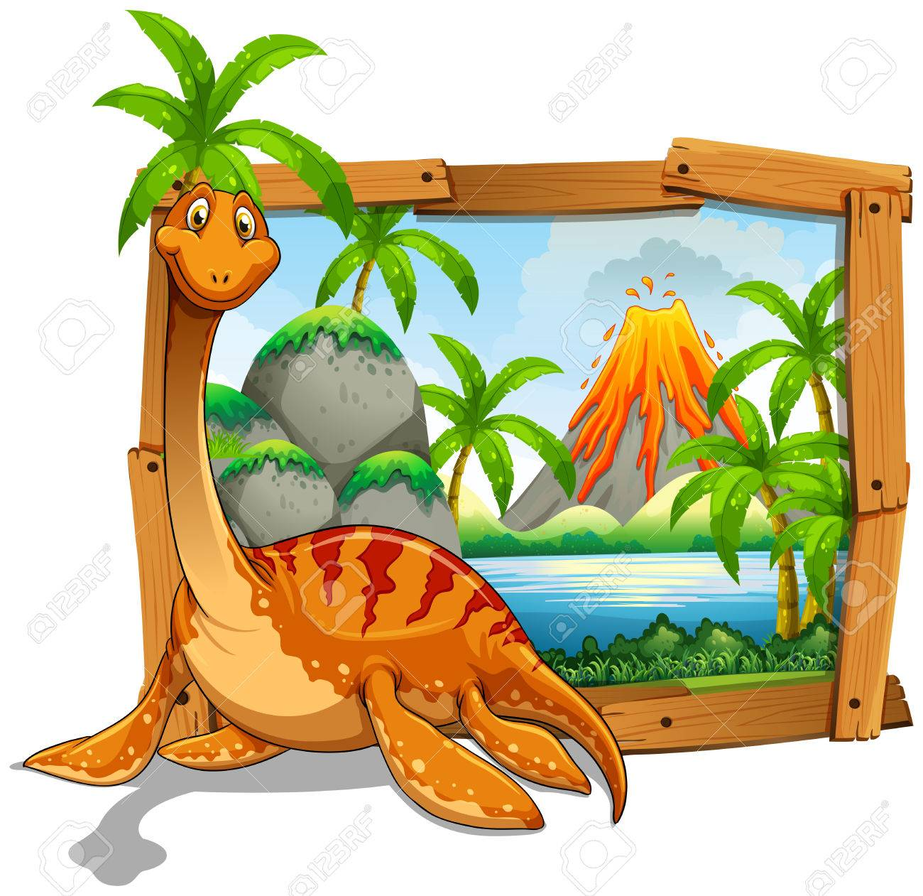 wooden frame with dinosaur at the lake illustration royalty free