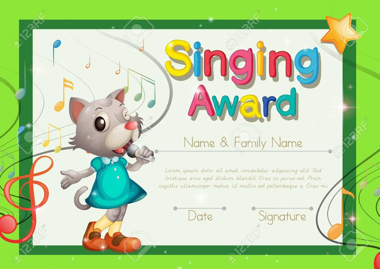 Singing Award Certificate Template Illustration