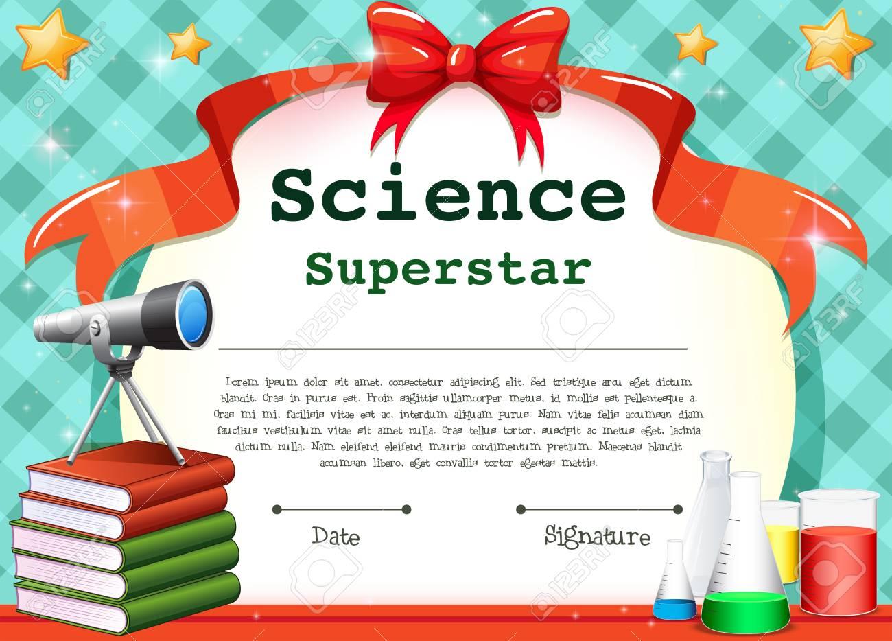 Zertifikatvorlage Für Die Wissenschaft Thema Illustration Lizenzfrei ...