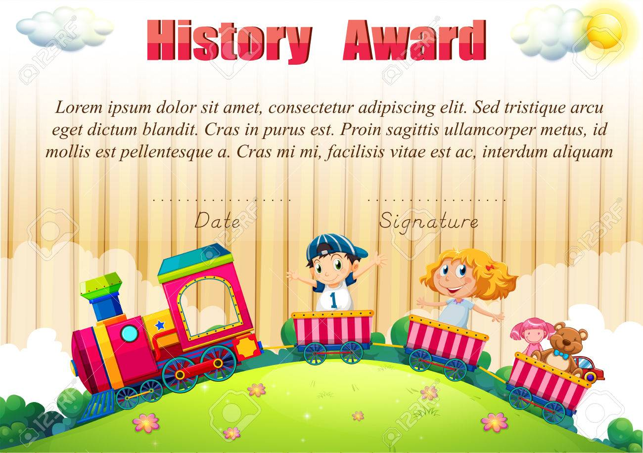 Certificate Template With Children On The Train Illustration Royalty ...