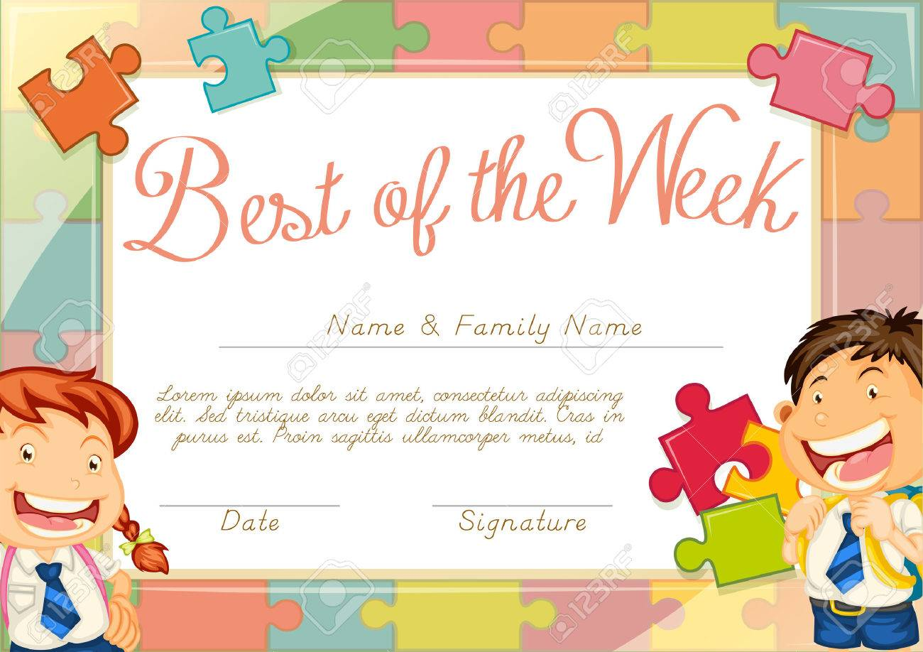 Certificate Template With Children Background Illustration Royalty ...