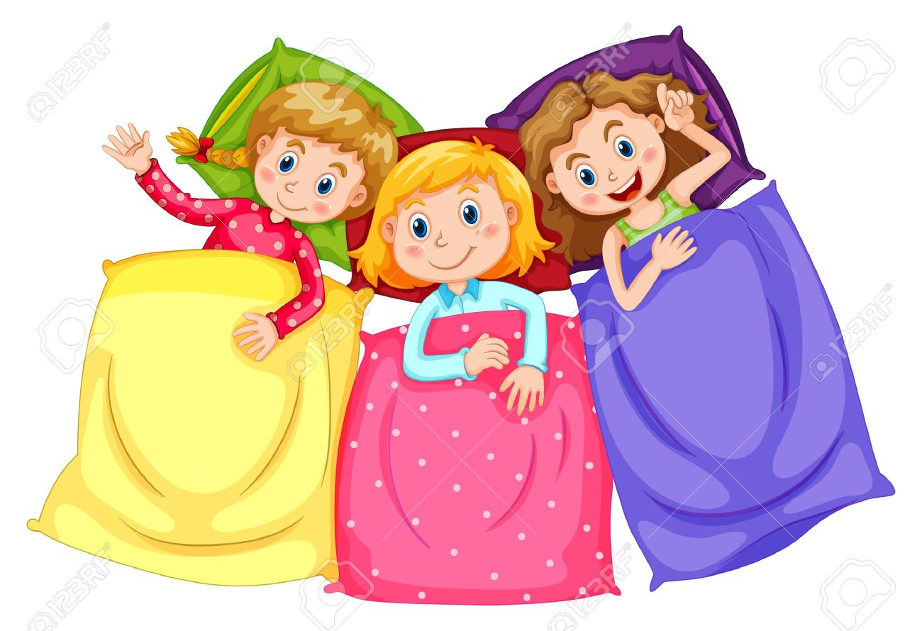 girls in pajamas at slumber party illustration royalty free cliparts rh 123rf com slumber party clipart sleepover party clipart