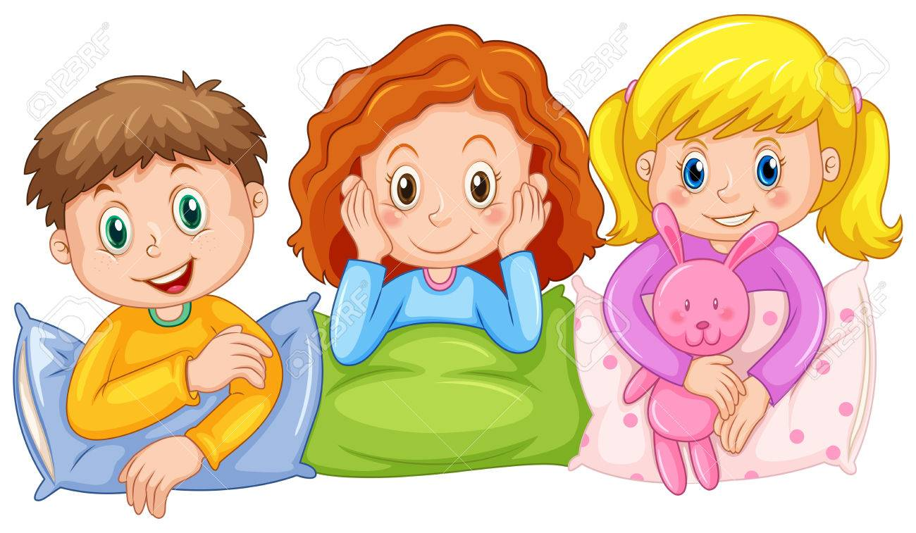 children happy at slumber party illustration royalty free cliparts rh 123rf com Spa Party Clip Art Spa Party Clip Art