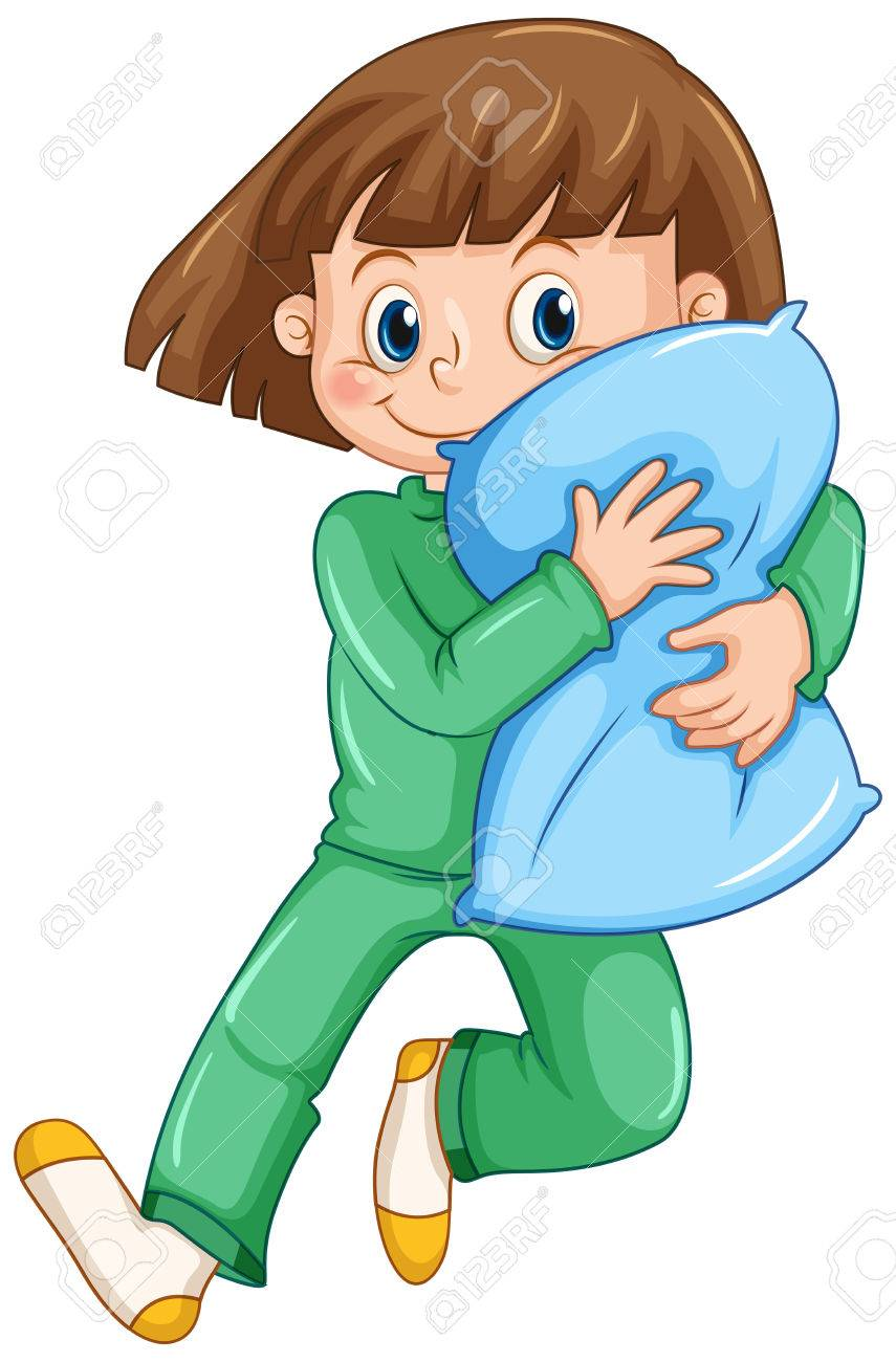 girl hugging pillow at slumber party illustration royalty free rh 123rf com slumber party clip art printable slumber party clipart