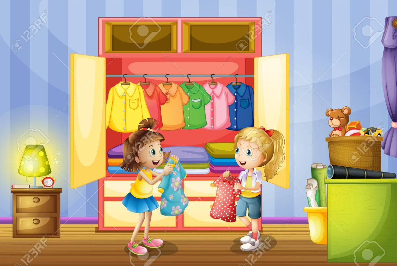 Two girls choosing clothes from closet illustration - 53042707