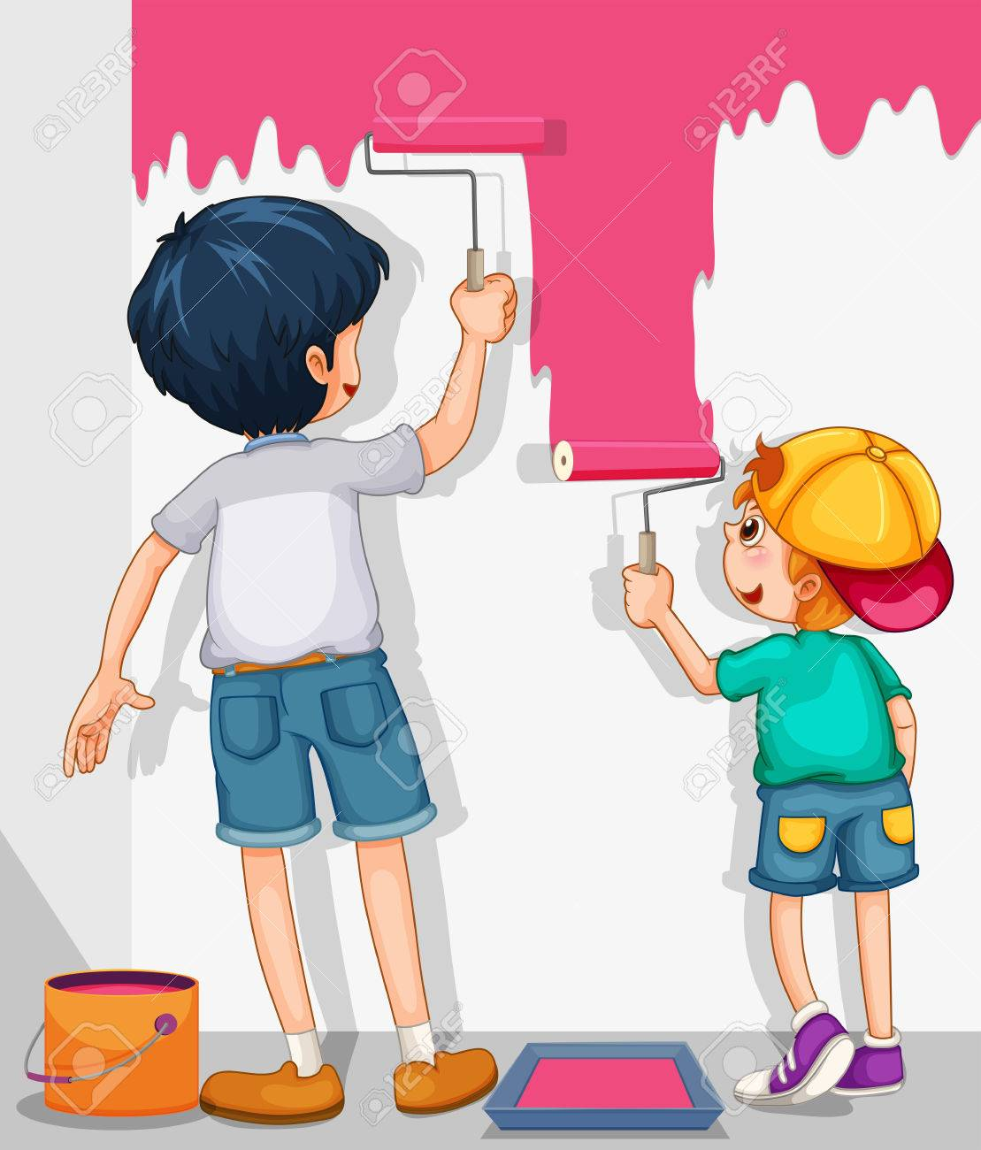 Two Boys Painting The Wall In Pink Illustration