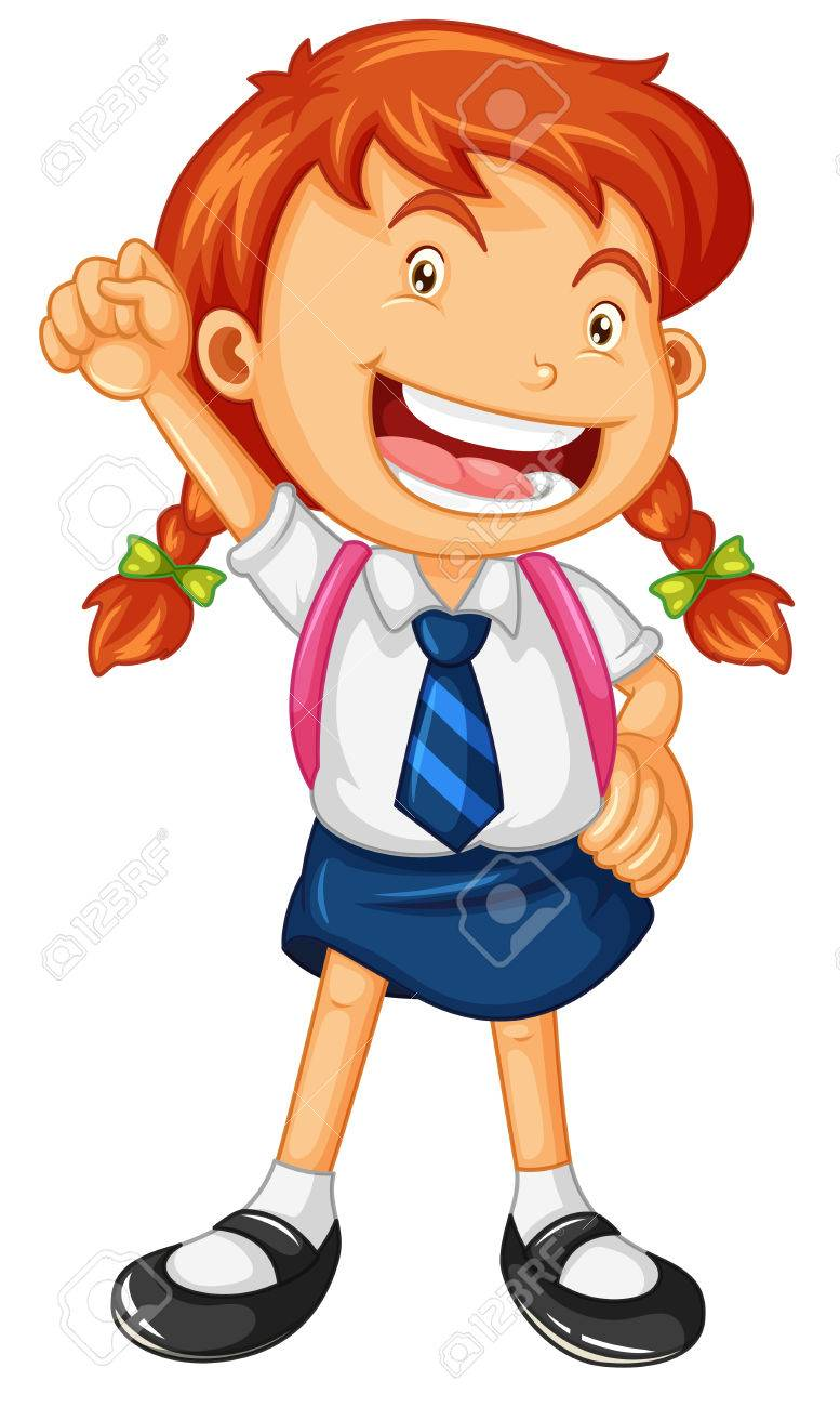 happy girl in school uniform illustration royalty free cliparts rh 123rf com school uniform clipart black and white a schoolboy in uniform - clipart
