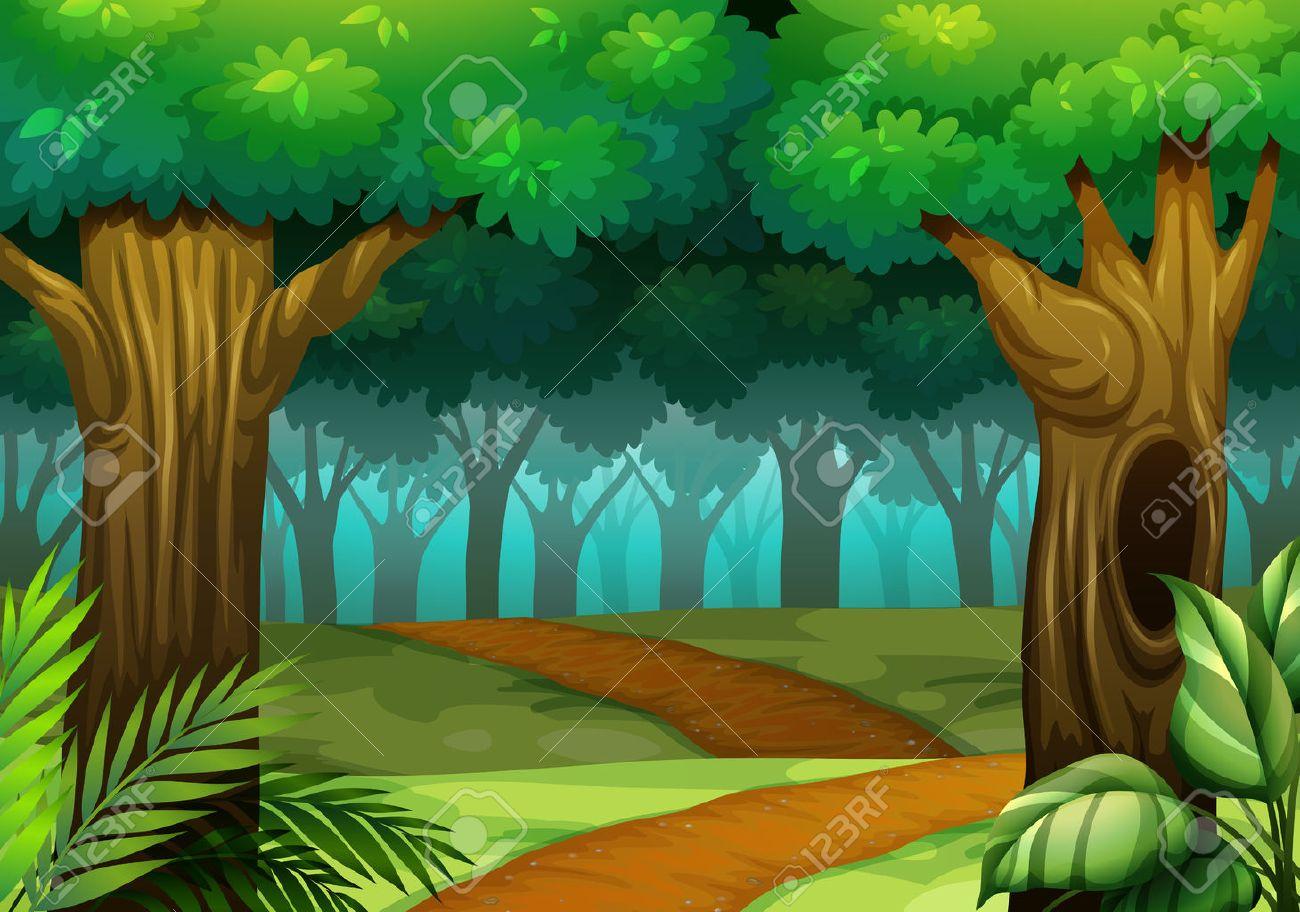 森のイラストの道を森のシーンのイラスト素材ベクタ Image 53485338