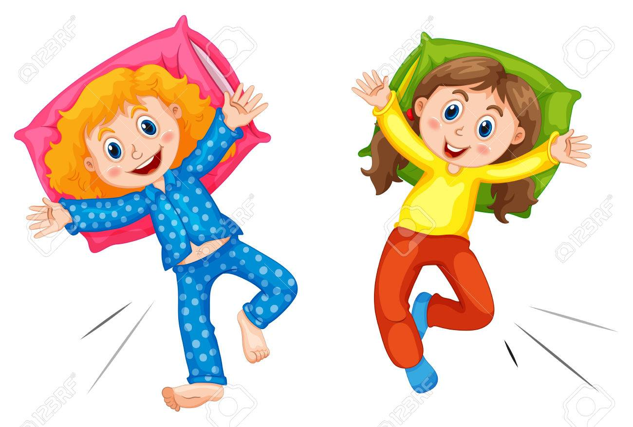 two girls in pyjams at slumber party illustration royalty free rh 123rf com Clip Art Birthday Party sleepover party clipart