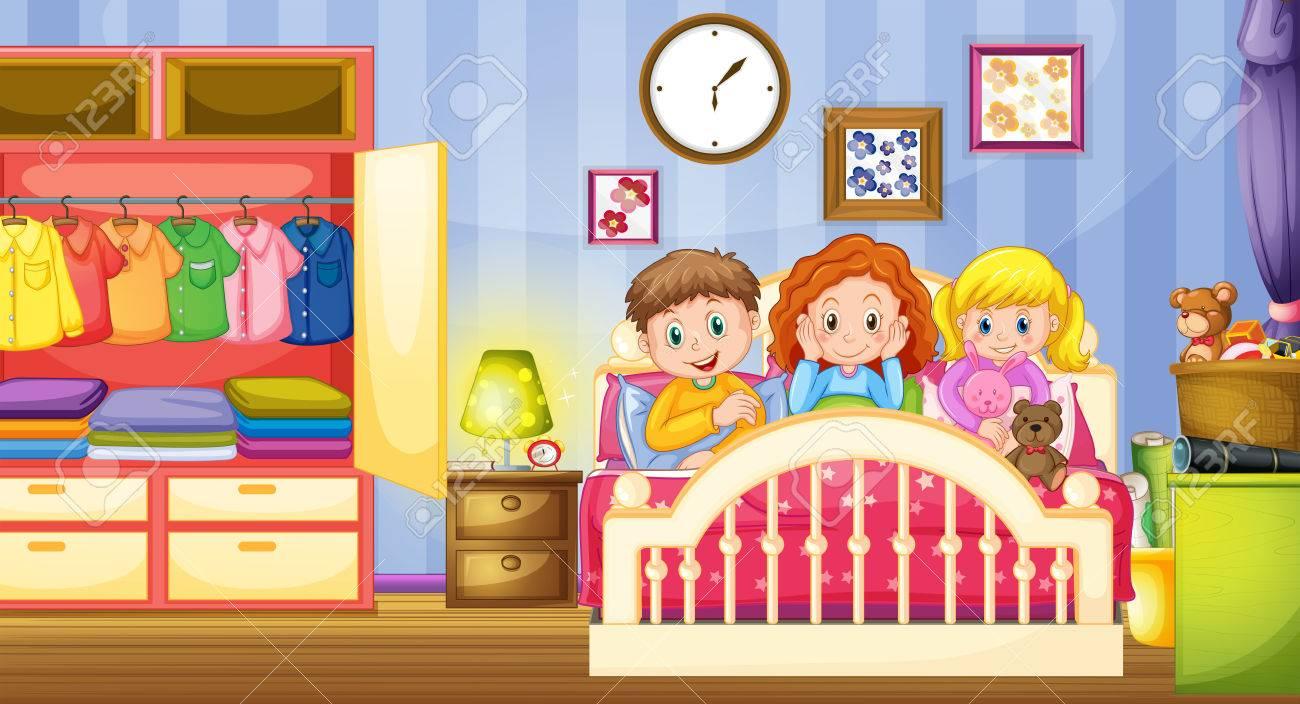Three Kids Sleeping In The Bedroom Illustration Stock Vector