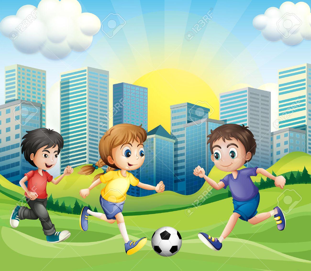 Ninos Jugando Al Futbol En El Parque De La Ilustracion Ilustraciones
