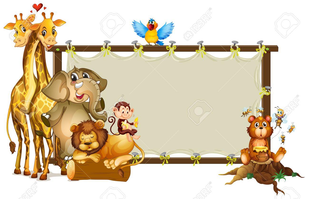 Frame design with wild animals illustration - 53962930