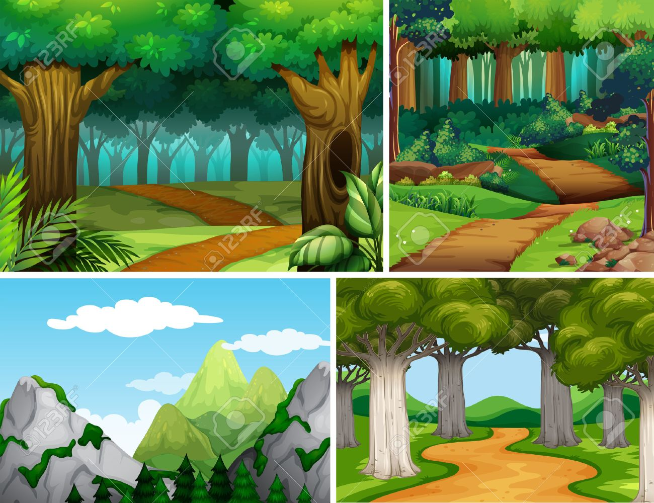 Four nature scenes with forest and mountain illustration - 53963454
